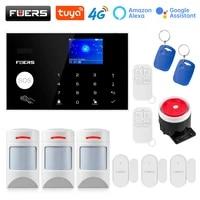 FUERS     systeme dalarme de securite domestique intelligent  wi-fi  4G  Tuya  controle sans fil  sirene solaire  detecteur de mouvement  capteur de fumee PIR  camera