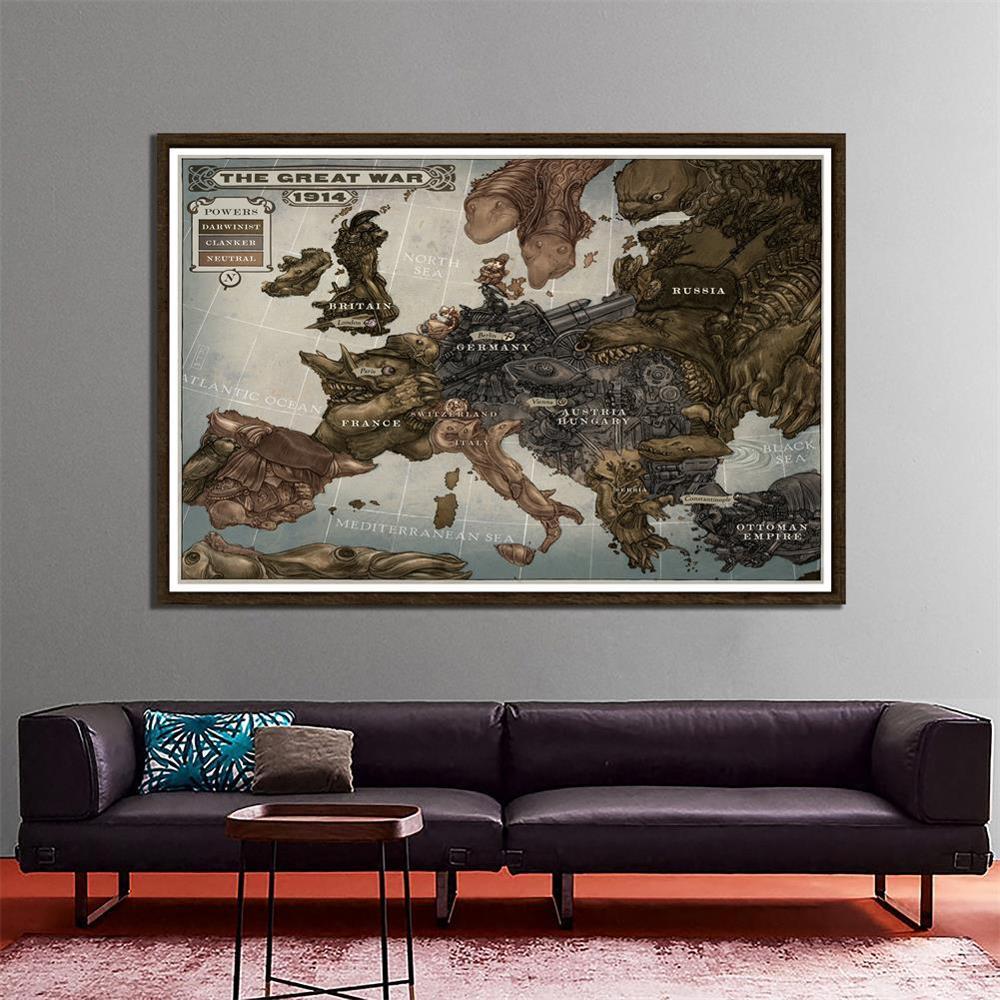 150x225cm vintage a grande guerra europa mapa posters e cópias da arte da parede quadros em tela para sala de estudo escritório decoração casa
