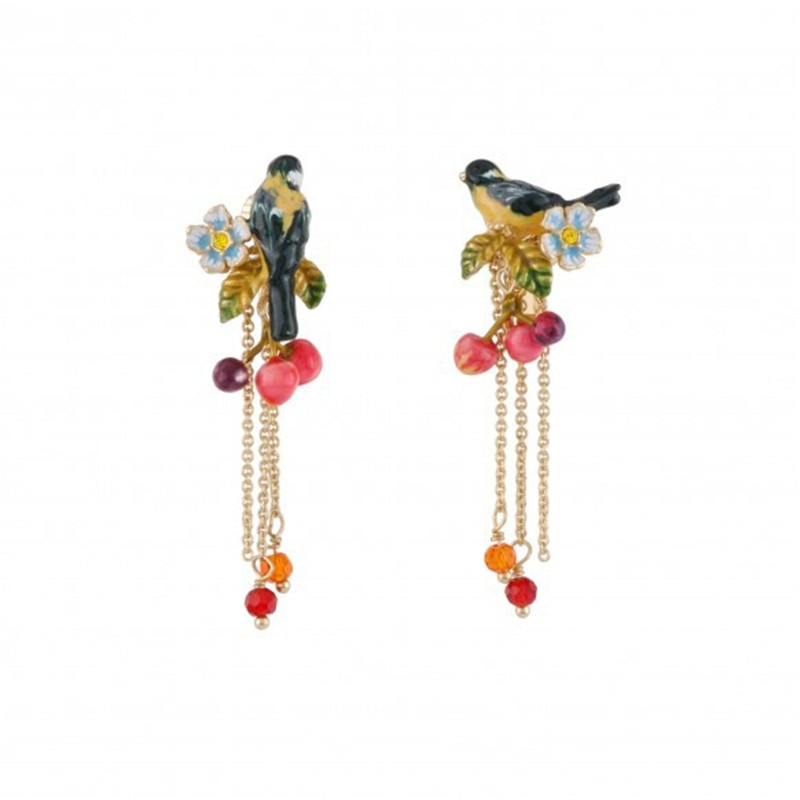 European and American new products listed enamel-glazed oriole bird cherry earrings long tassel earrings foreign trade jewelry
