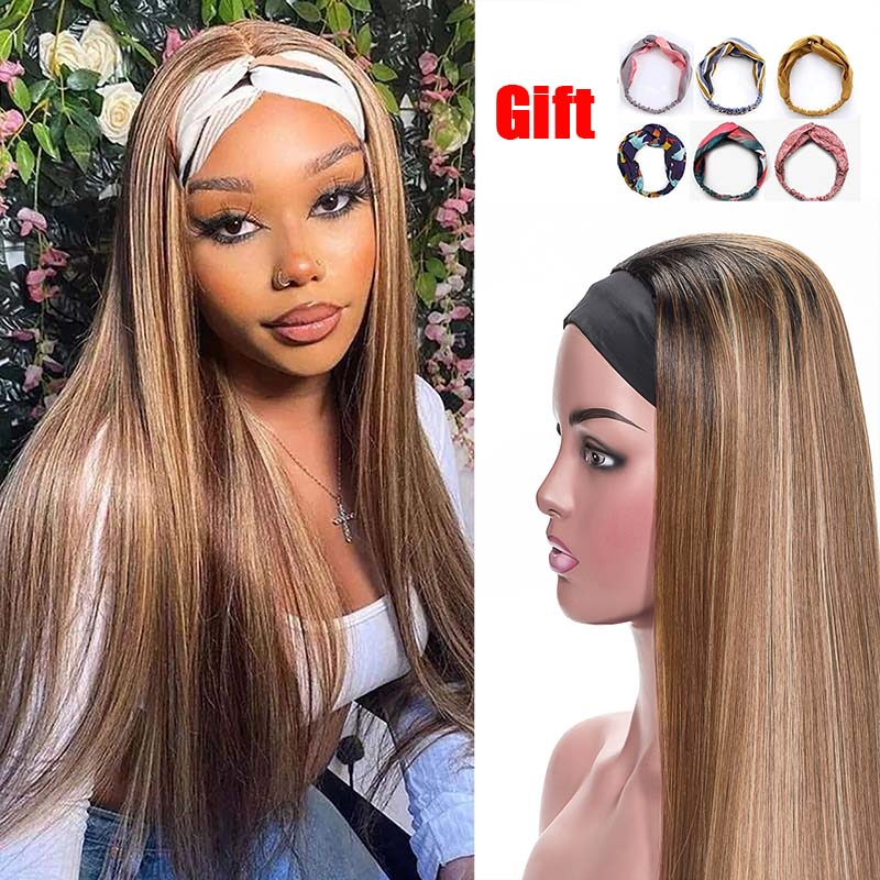 Highlight Headband Wigs For Women Synthetic Straight None Lace Wig Ombre Brown Blonde Brazilian Hair Glueless None Lace Front