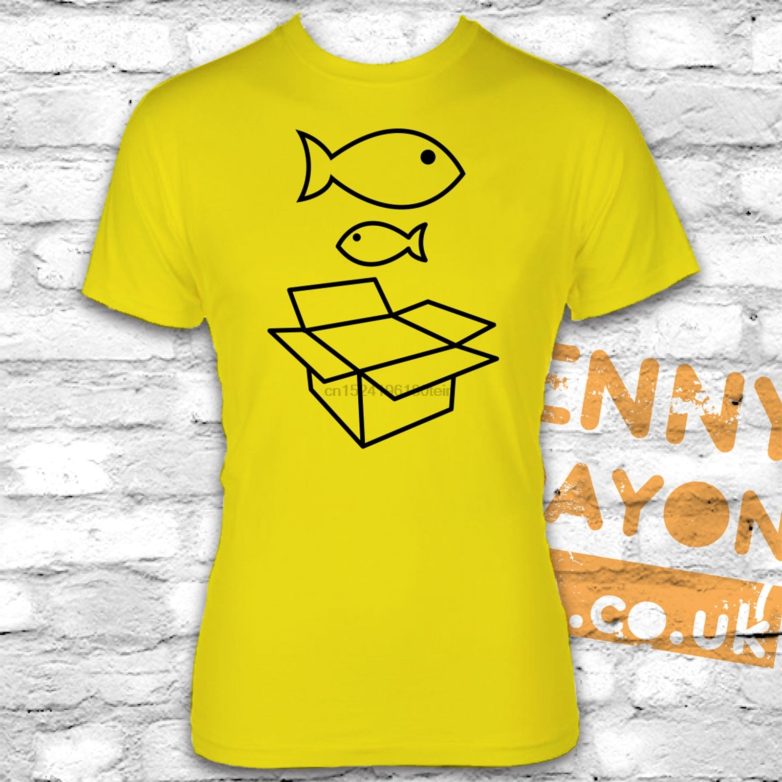 Camiseta de pez grande, caja de cartón, pez pequeño, 90, NINETIES, RAVE GOING OUT, divertida