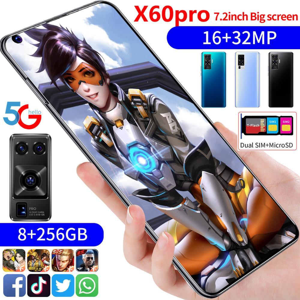 أحدث الهواتف الذكية X60 Pro 7.2 بوصة MTK6889 10-Core android 9.1 هاتف محمول 12GB 512GB 4G5G 6800mAh سعة كبيرة