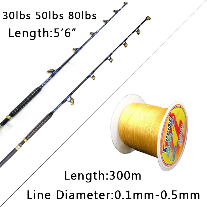Nylon Butt Trolling Fishing Rod 5+1 Guides Strong FRP Big Game Rod 30/50/80lbs Hard Ocean Boat Fishing Pole Non-Slip Handle enlarge
