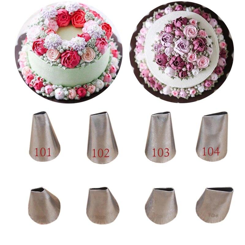 #101 #102 #103 #104 Rose Petal Cupcake Confeiteiro Piping Bicos Para Decorar Bolos Dicas de Pastelaria Panificação Pastelaria Ferramenta кондитерские товары