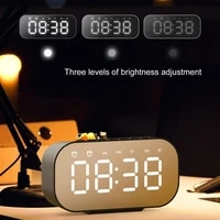 multifunctional mini bluetooth 5 0 wireless speaker mirror clock home with radio alarm clock function can be plugged