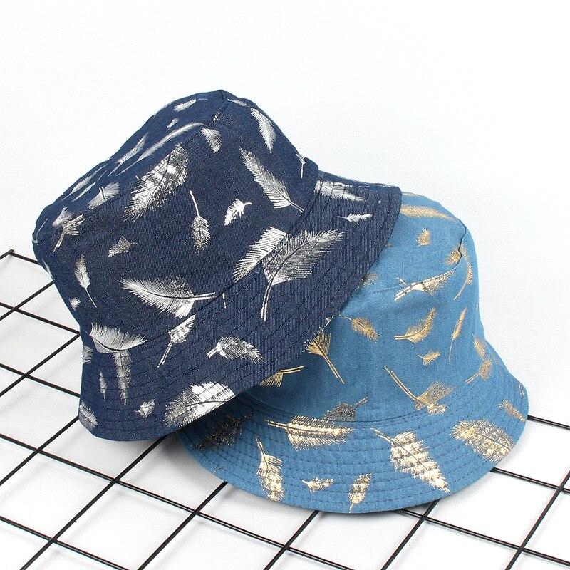 Feather Printing Summer Bucket Hats Fishing Fisherman Hat Cap Women Double sided Wear Basin Outdoor Sunscreen
