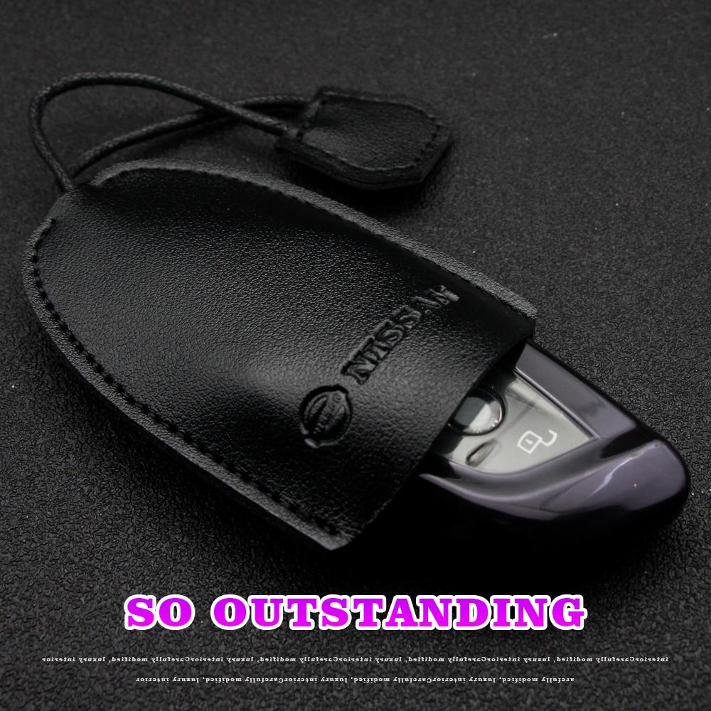 1pc Genuine Leather Keychain Men Women Car Key Holder Pouch Wallet Case Mini Card Bag For Nissan Qas