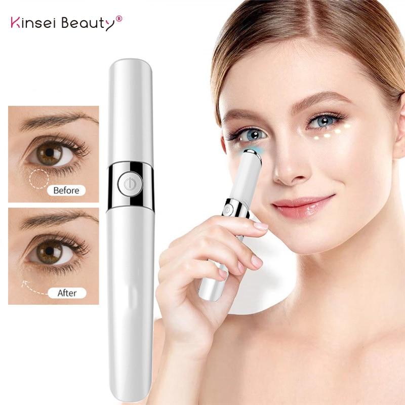Nantime Eyemagic المضادة للتجاعيد القلم آلة تدليك العين الصغيرة الأحمر والأزرق ضوء الكهربائية العين الاهتزاز عصا سحرية أداة العناية بالوجه