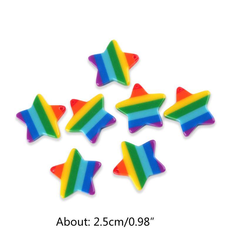 30 Uds rayas multicolor estrella Slime encantos DIY resina colgantes con agujero perforado XXFD