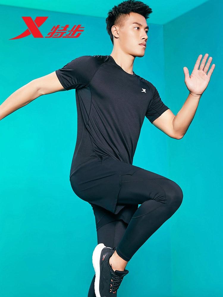 Xtep deportes traje de tres piezas de manga corta pantalones cortos pantalones Jogging cómodo transpirable traje deportivo 880129A10194