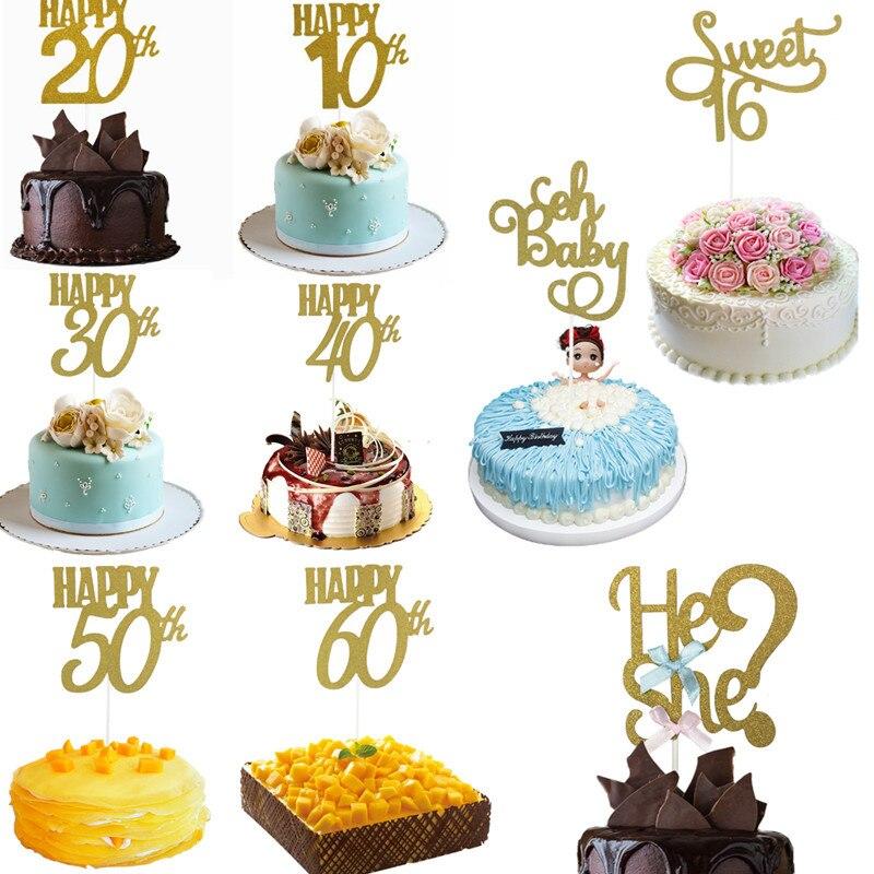 1/3/5 pçs ouro preto avançado glitter feliz 30 40 50 60th bolo topper fiftieth decorações da festa de aniversário acessórios do bolo suprimentos