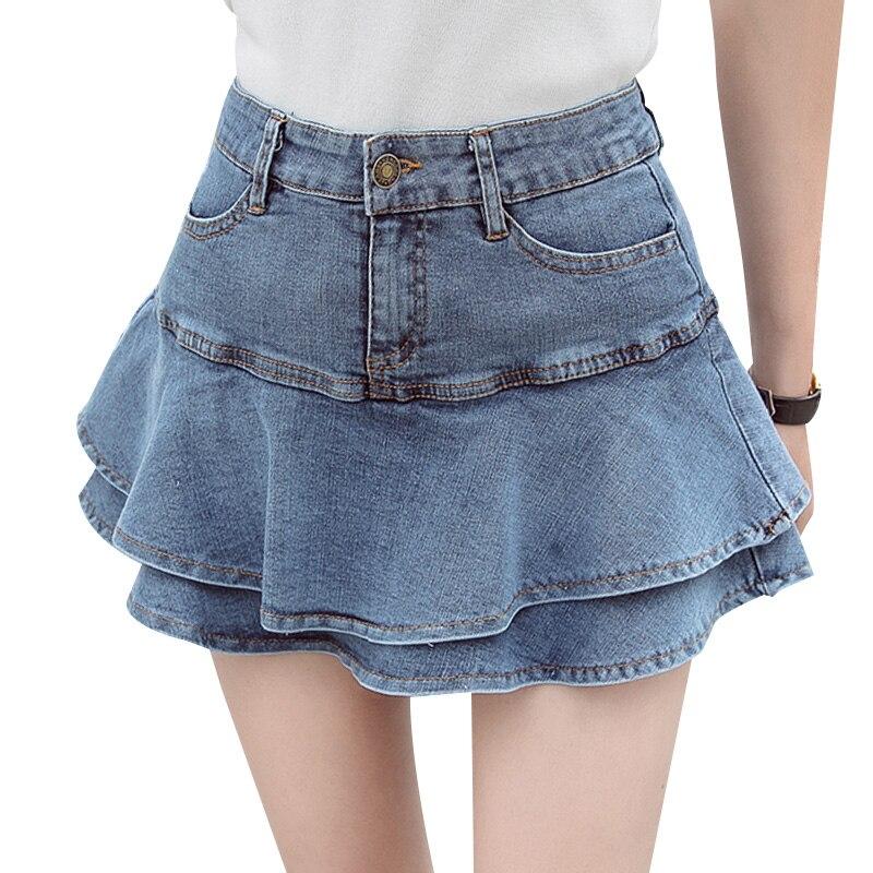Denim Mini Skirt Woman 2020 New Summer Korean Style High Waist Slim Fit Ruffles A Line Mini Skirt Faldas 2020 new korean style elegant split embroidered a line denim midi skirt korean harajuku skirt jean skirt denim skirt