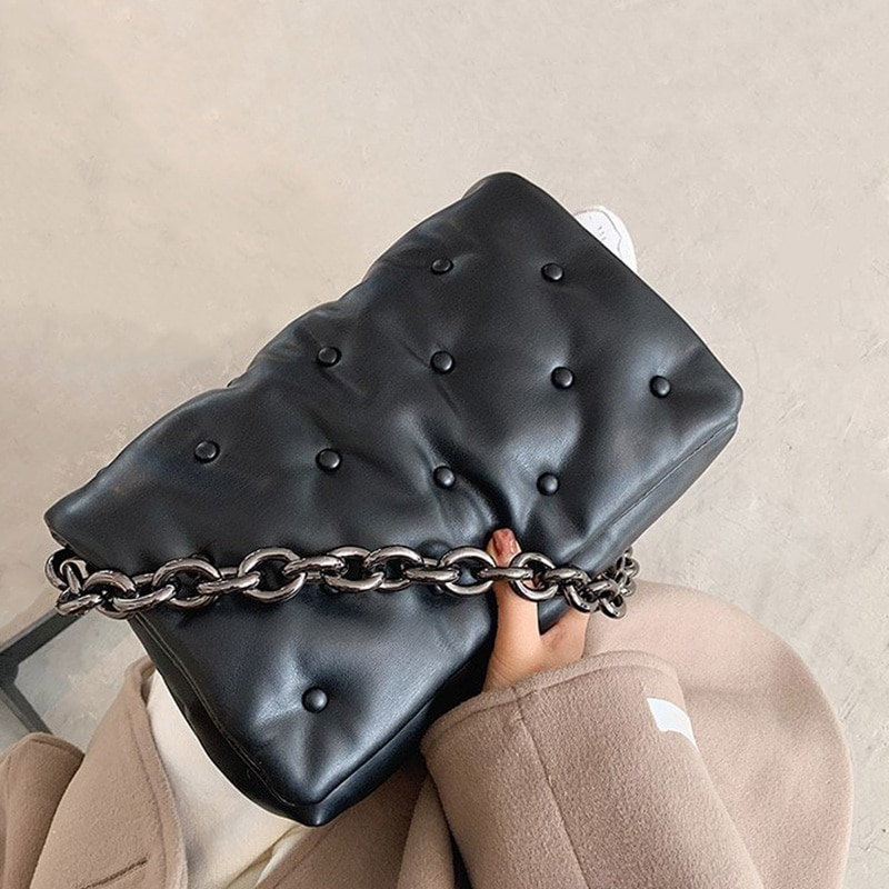 Women's Shoulder Bags For Women 20221 Denim Thick Metal Chain Shoulder Purses And Handbag Women Clut