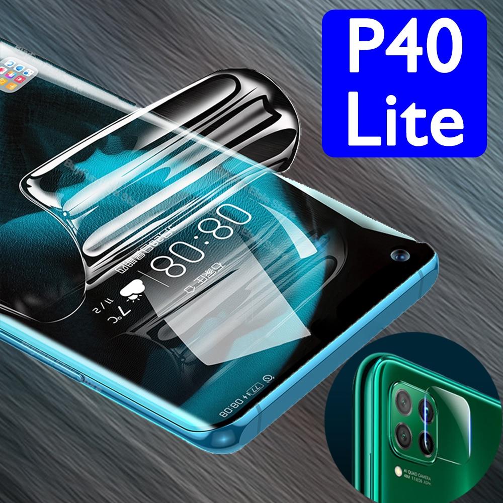 Fundas p40lite nova 6 se para huawei p40 lite 7i funda de teléfono película hidrogel p 40 coque con lente de cámara cubierta completa no cristal 2 en 1