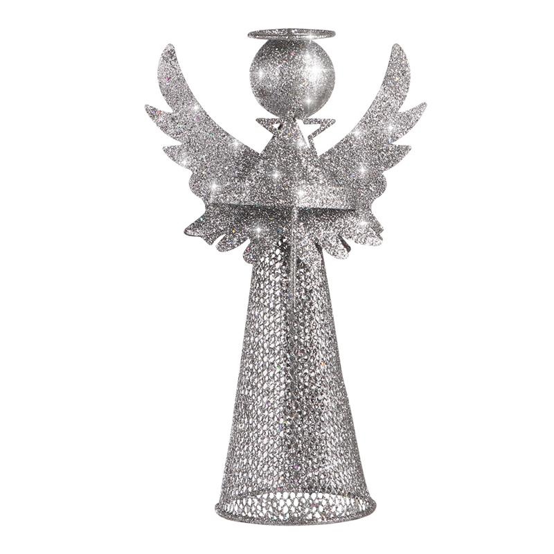Adorno de árbol de Navidad de Amosfun, decoración de Ángel Treetop, figura de ángel para decoración festiva del hogar (Plata)