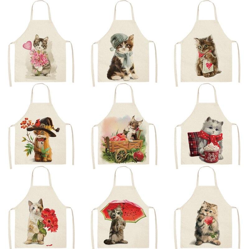 Delantal de cocina con estampado de gatos y dibujos para mujer, delantal de cocina para la cena, fiesta y hornear, delantal de cocina, delantal de limpieza