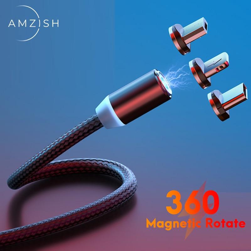 amzish Fast Charging Magnetic Cable Micro USB Type C Cable For Iphone Xiaomi Mobile Phone Magnet Dat
