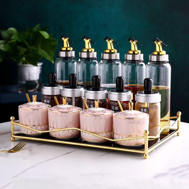 مجموعة وعاء توابل سيراميك ، على الطراز الاسكندنافي ، أواني مطبخ بسيطة ، تخزين زجاجي ، مجموعة زجاجات توابل
