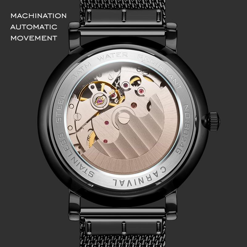 Carnival Brand Fashion British Style Watch Man Waterproof Luxury Casual Hollow Automatic Mechanical Wristwatch Relogio Masculino enlarge
