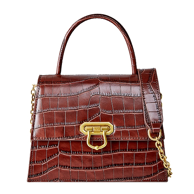 New Women Genuine Leather handbags fashion Crocodile pattern real cowhide leather cowhide leather Designer shoulder bag small
