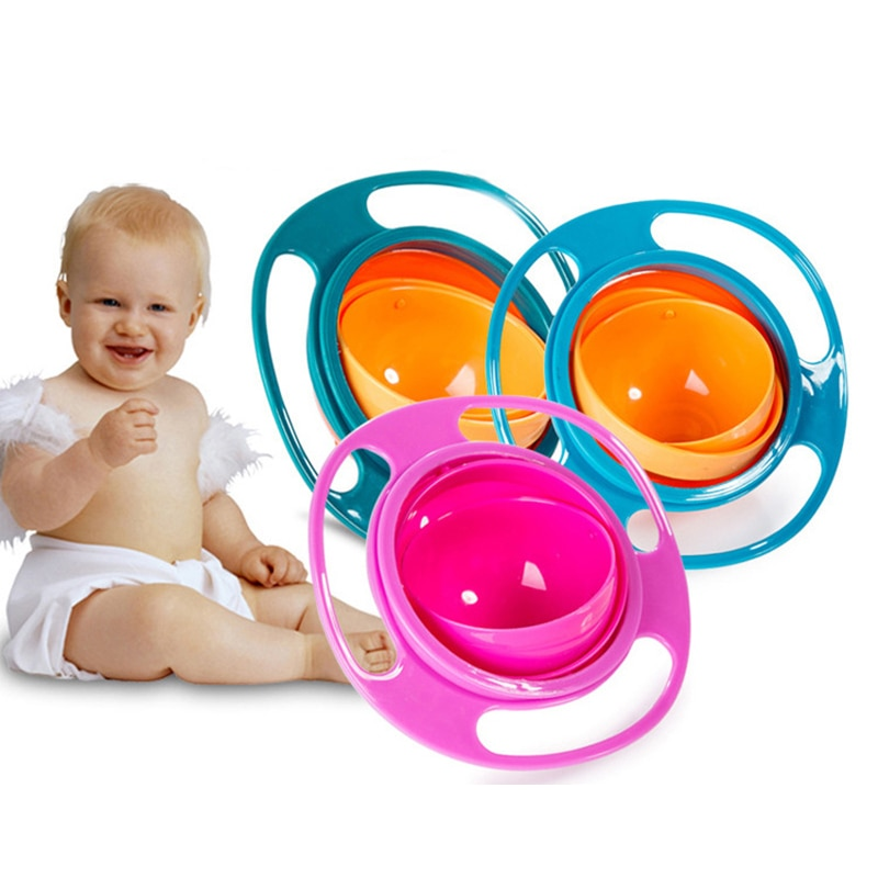 Bol giroscópico para bebé de rotación de 360 grados, cuenco giroscópico resistente a derrames con tapa, vajilla alimentación de juguete, platos para bebés y niños