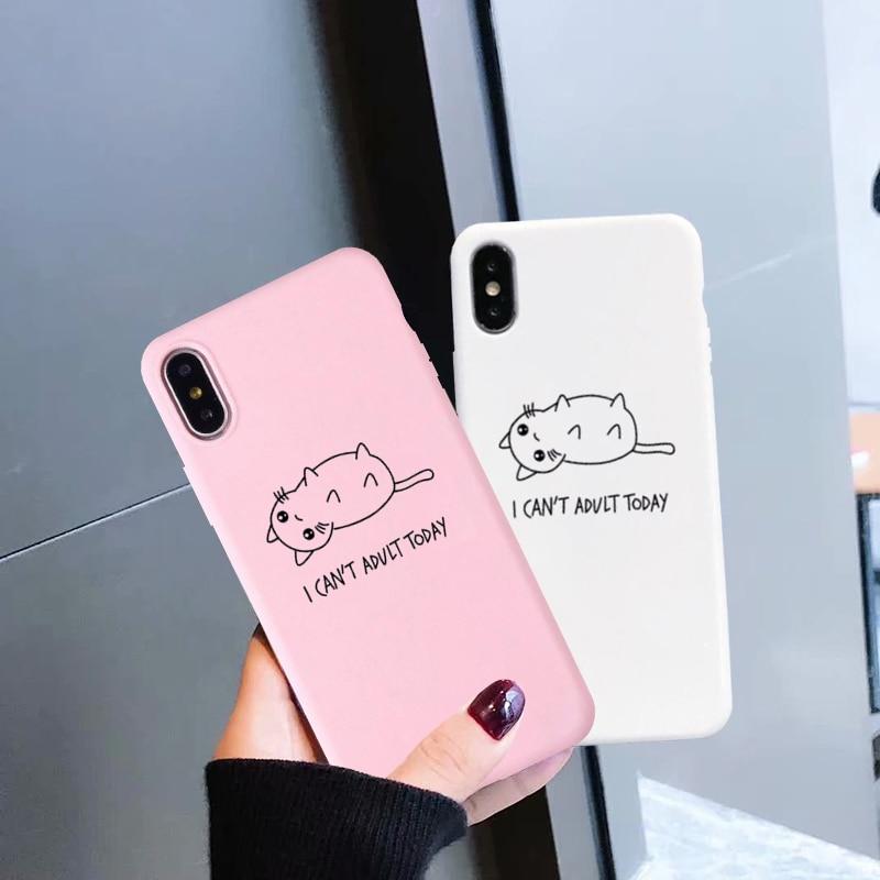 GYKZ lindo gato funda para teléfono para iPhone XS MAX XR 11 Pro X 7 7 6s 6 Plus blanco rosa, cubierta trasera de silicona suave, patrón Animal Capa bolsa