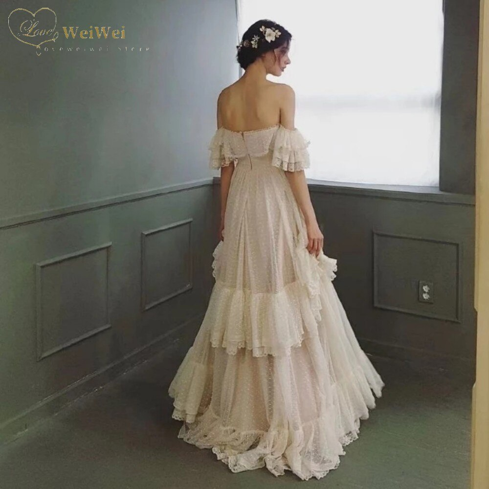 Elegant Strapless Neck Wedding Dress A-Line Off The Shoulder Short Sleeve Floor Length Ruffle Tiered Vestidos De Novi