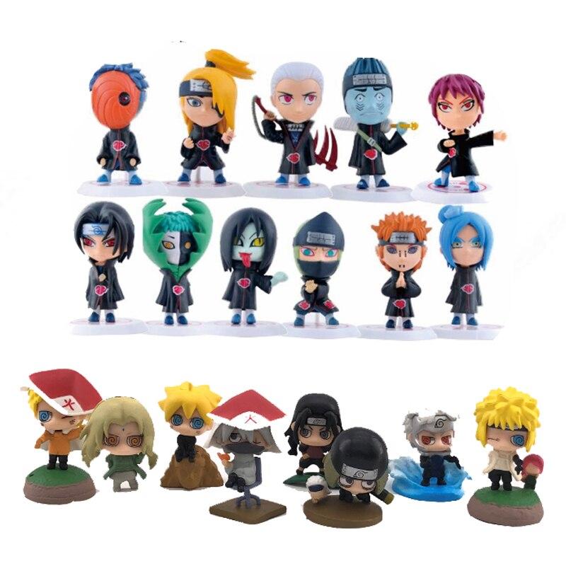6set/lot 4-12cm Japan Jump Comics Naruto Action Figures Kakashi Sakura Sasuke Itachi Obito Gaara  Toys Model Figurine