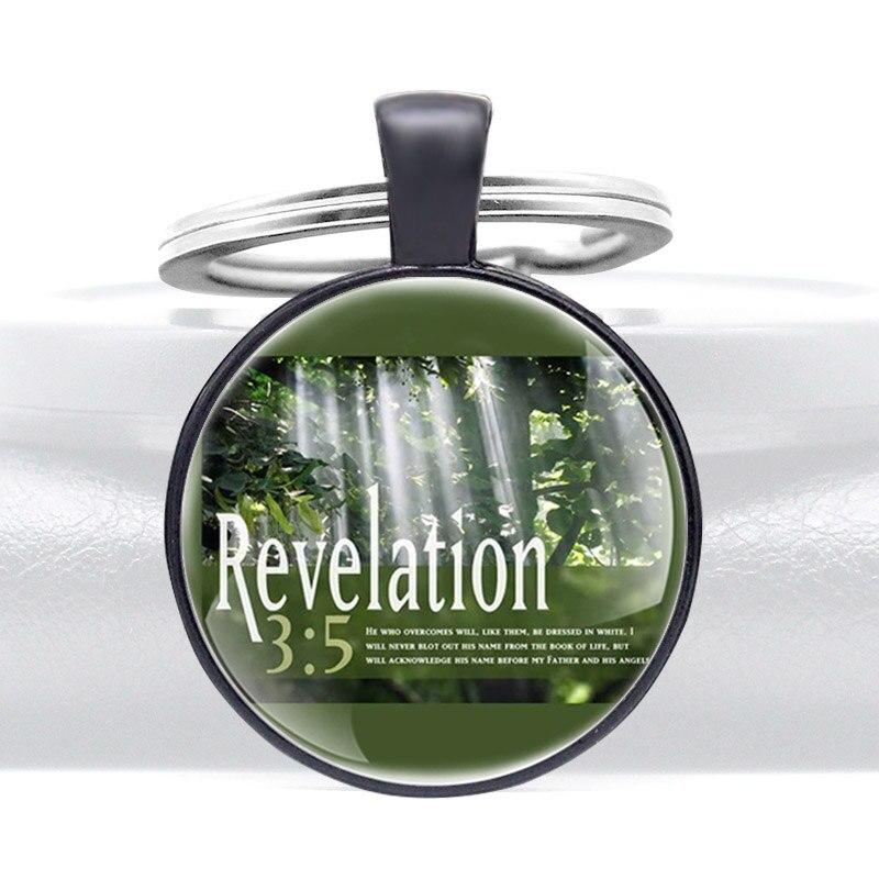 Llavero con colgante de Metal de cabujón de cristal con diseño bíblico de Apocalipsis 35, llavero de moda para hombres y mujeres, regalos de joyería y anillos, llaveros
