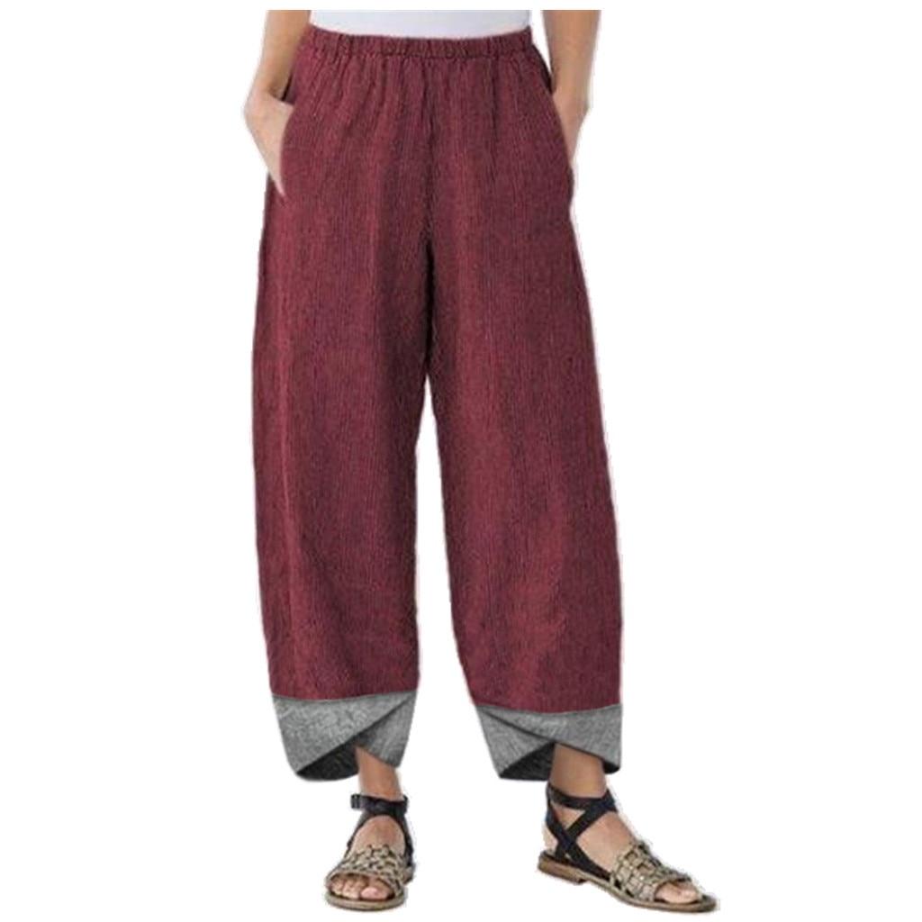 Women Vintage Linen Pants Summer Casual Solid Elastic Waist Wide Leg Pocket Trousers Asymmetrical Loose Capris Harem Pantalon