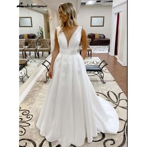 Lakshmigown Simple v neck satin long Wedding Dresses 2020 Sleeveless Bridal Gown robe de soiree courte