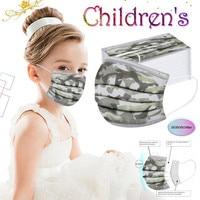 Children's mondkapjes Mask Disposable Face Mask 3ply Ear Loop 10/20/30/100pc Camouflage Kids Mask For Face Mascarillasdetela