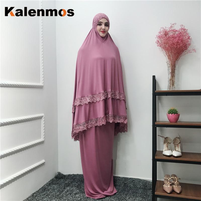 Muslim long khimar Robe Women Prayer Garment Sets Abaya Formal Lace musulman ensembles Maxi Skirts arab Kaftan Islamic jubah