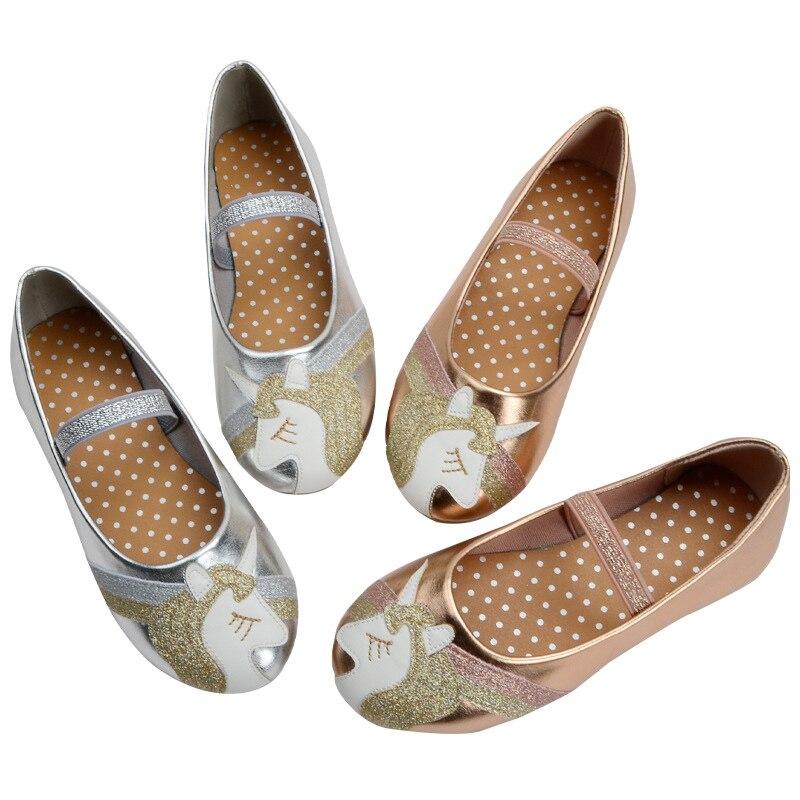 الفتيات الأميرة أحذية يونيكورن الكرتون ديسجين الأحذية المسطحة من جلد بلوتونيوم للأطفال أطفال فستان أحذية الحفلات حجم 24-29