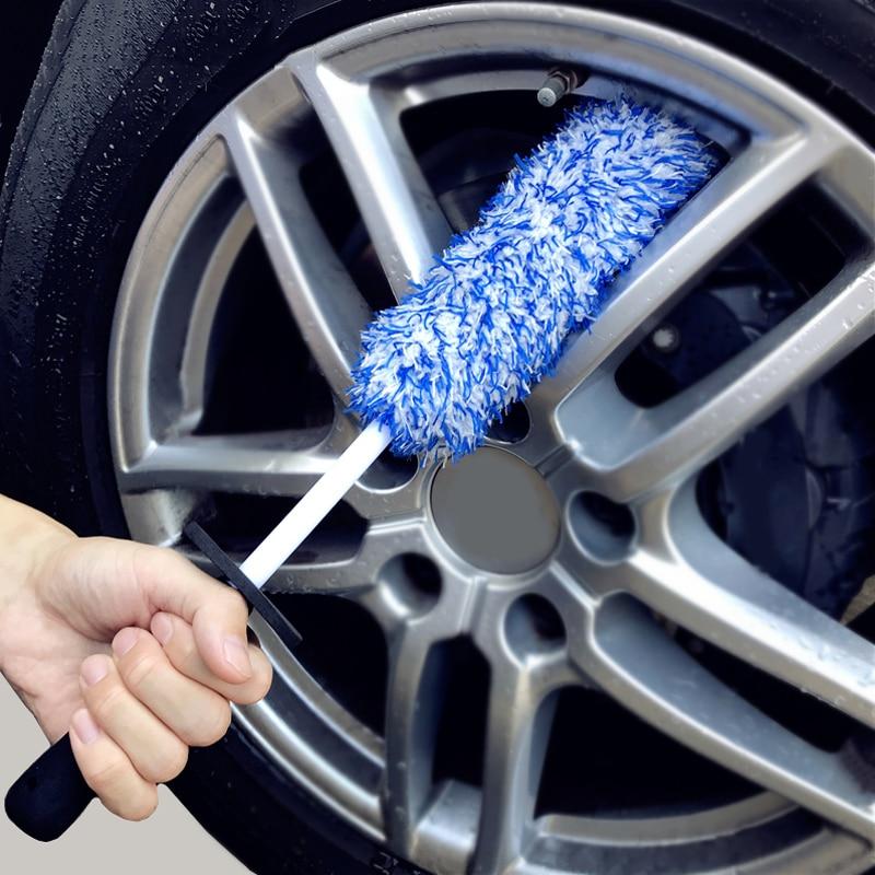 Щетка для чистки автомобильных колес, Высококачественная Нескользящая щетка из микрофибры для чистки автомобильных шин, с длинным колесны...