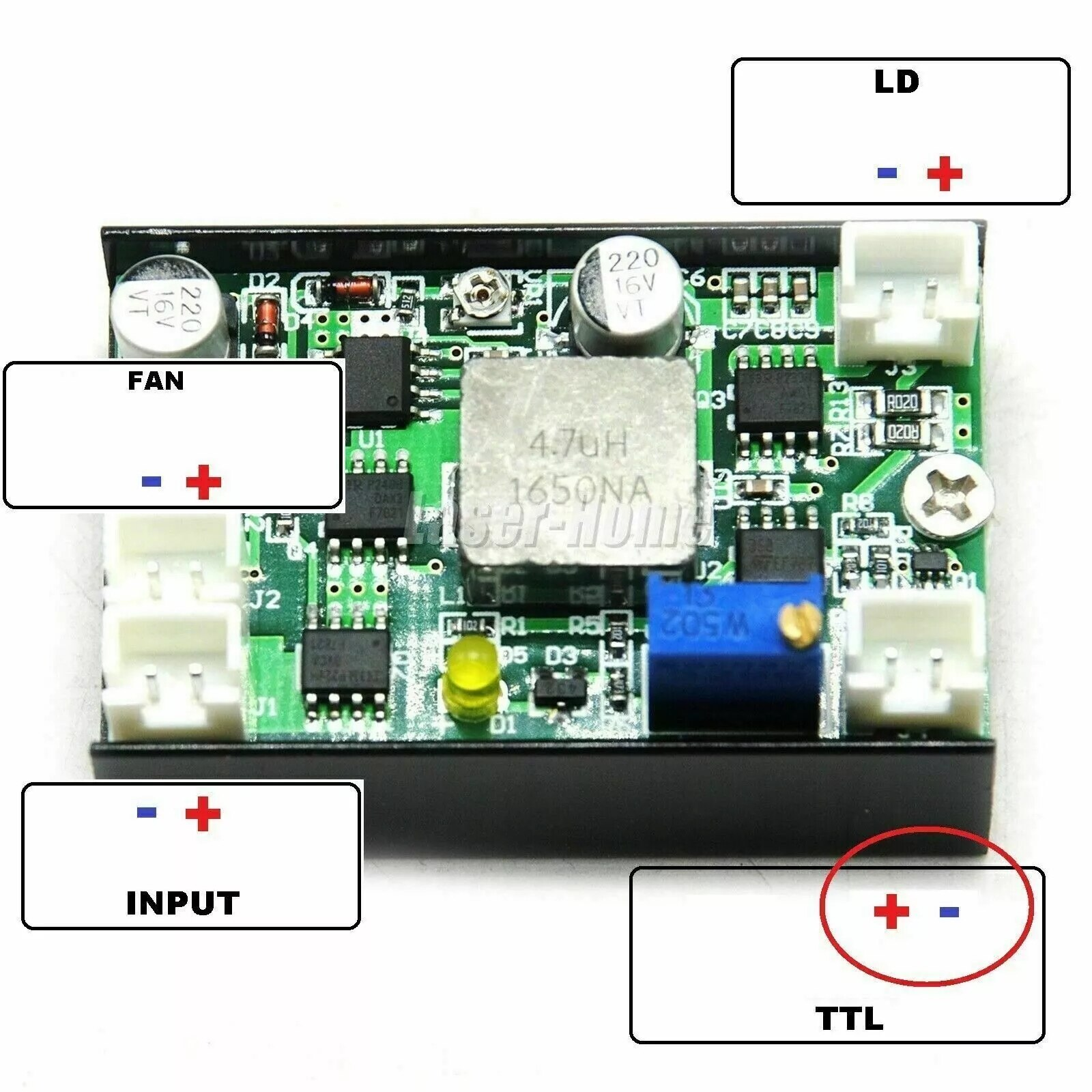 1 шт. Драйвер плата TTL для 405 нм 450 нм 520 нм синий зеленый 500 мВт 1 Вт 2 Вт 3 Вт 4,5 Вт лазер диод модуль 12 В 4 А