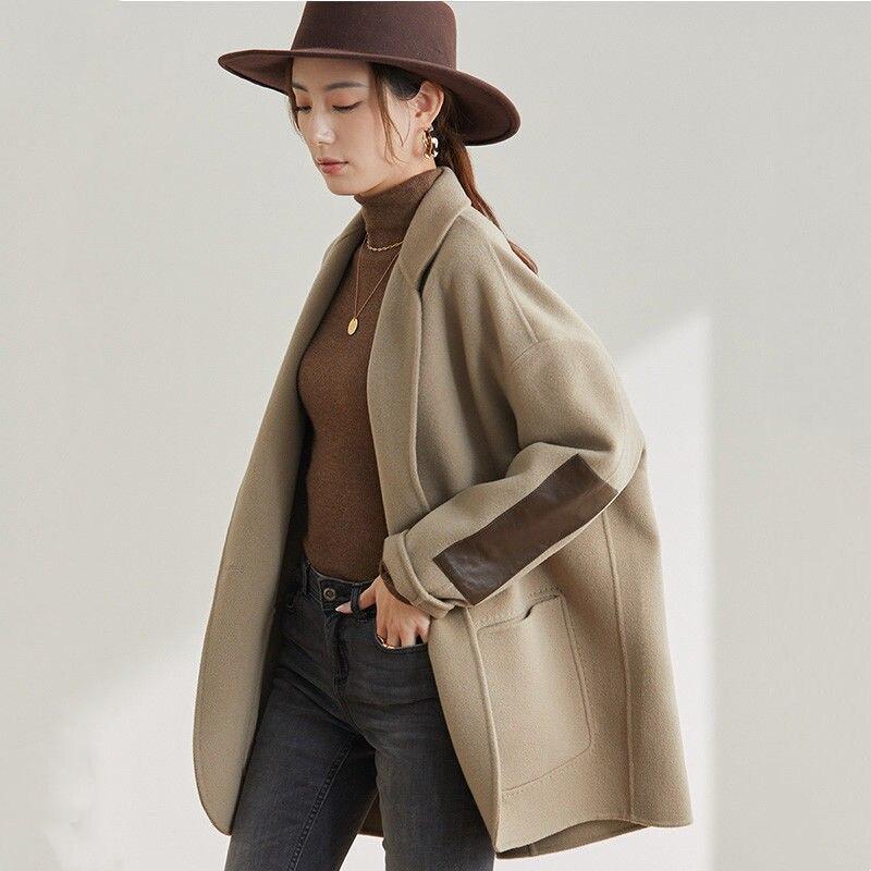 معطف تويد صغير راقي للربيع والخريف 2021 جديد هيبورن فضفاض معطف صوفي ذو وجهين للنساء