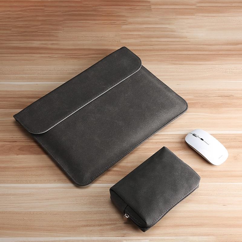 Funda para Xiaomi HP Huawei Matebook X Pro PU de cuero delgado portátil bolsa para Macbook Air 13 manga Pro 15 16 11 12 con paquete de alimentación