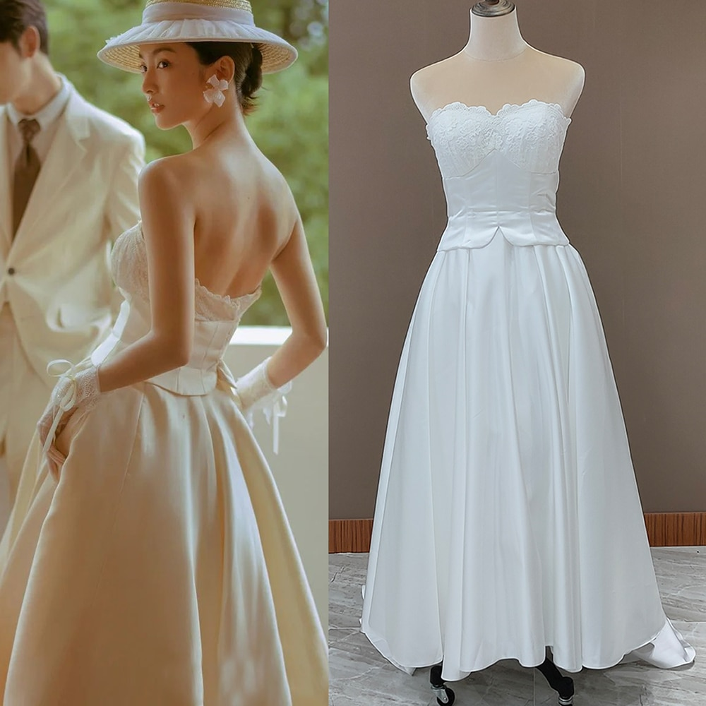 Get Vintage Pricness Strapless Satin Wedding Dresses Custom Made Sweetheart Simple 2021 Plus Size Zipper Lace Elegant Bridal Gown