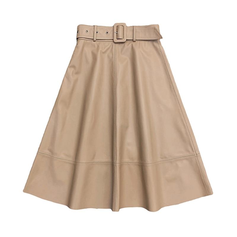 Genuine Sheepskin Leather Skirt Women's Fashion Long Skirt Spring Autumn Black Kawaii TF8500