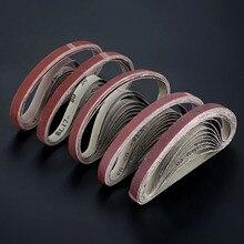 10 pièces/ensemble 60 à 600 grain 15mm x 452mm bandes abrasives pour meuleuse dangle bande abrasive adaptateur polissage ponçage meulage