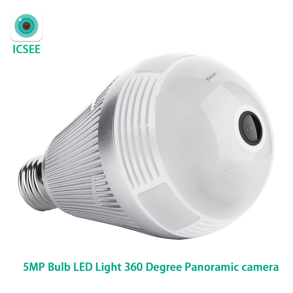 ICSEE APP 5MP لمبة مصباح ليد واي فاي عين السمكة 360 درجة CCTV VR أمن الوطن كاميرا IP بانورامية