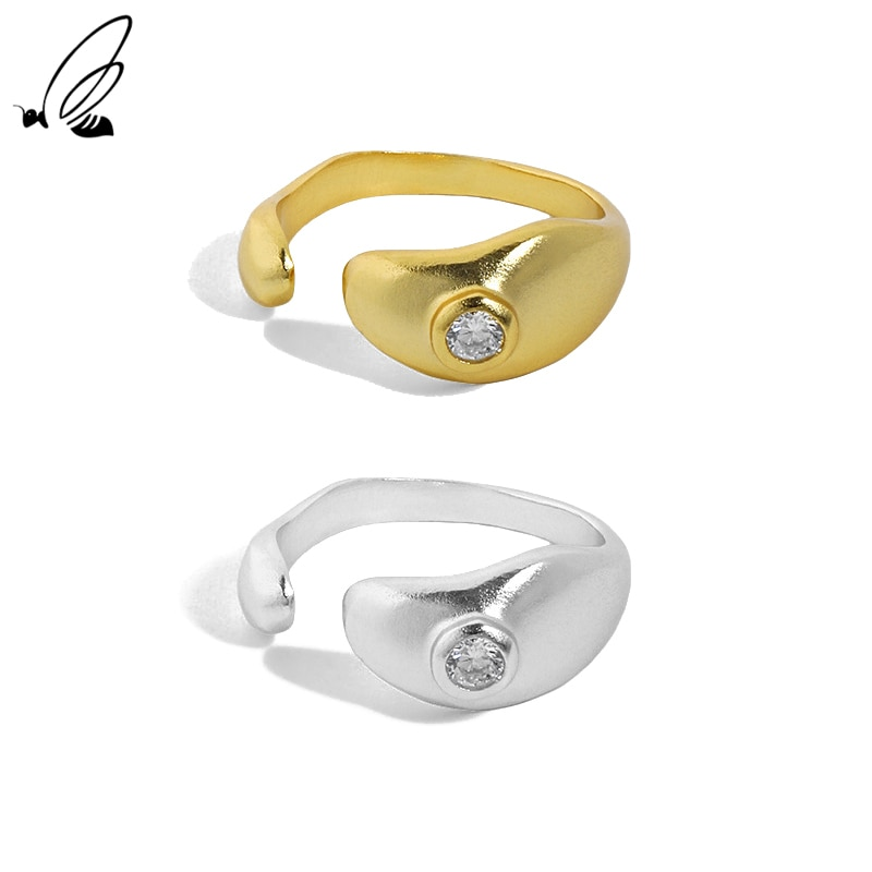 S'STEEL Sterling Silver 925 Irregular Design Micro Inlaid Zircon Devil's Eye Ring Gifts For Women Re