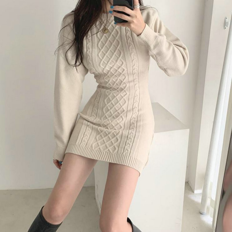 Minivestido de punto de manga larga para mujer, cuello redondo, ajustado, Corto, Sexy, estilo coreano, primavera y otoño, 2021
