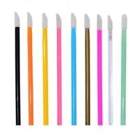 50pcsbag 9 color disposable lip brush stick color flocking single lipstick makeup brush lip gloss brush