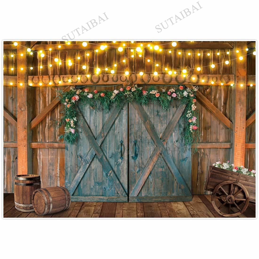 Spring Easter Backdrop Wooden Wall Blue Retro Door Flowers Light Bulb Baby Shower Party Photography Background Photo Studio enlarge