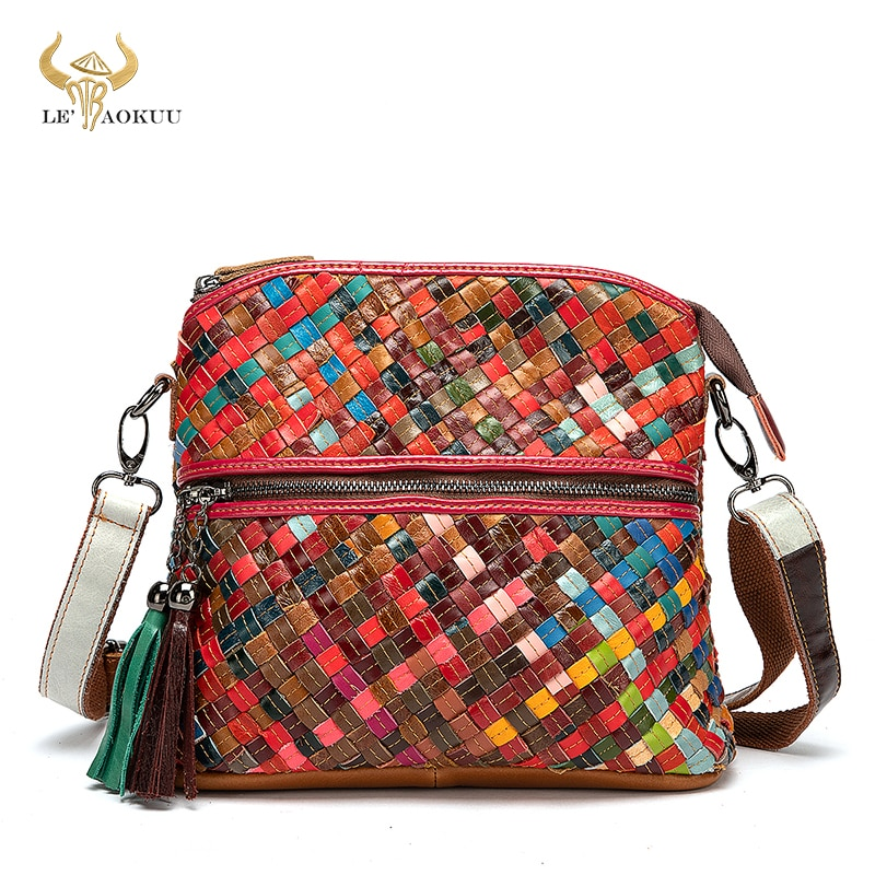 2021 Colorful Genuine Leather Famous Brand Luxury Ladies Designer Patchwork Shopping Purse Handbag O