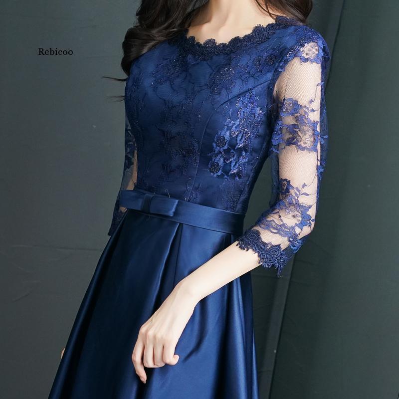 Navy Blue Womens Lace O-Neck Evening Party Dress Luxury Slim Wedding Gown Fashion Sexy Long Cheongsam Clothes Vestido