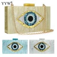 acrylic clutch bag cartoon sequined eye printing shoulder bags with chain womens evening bag mini handbags wedding party purse