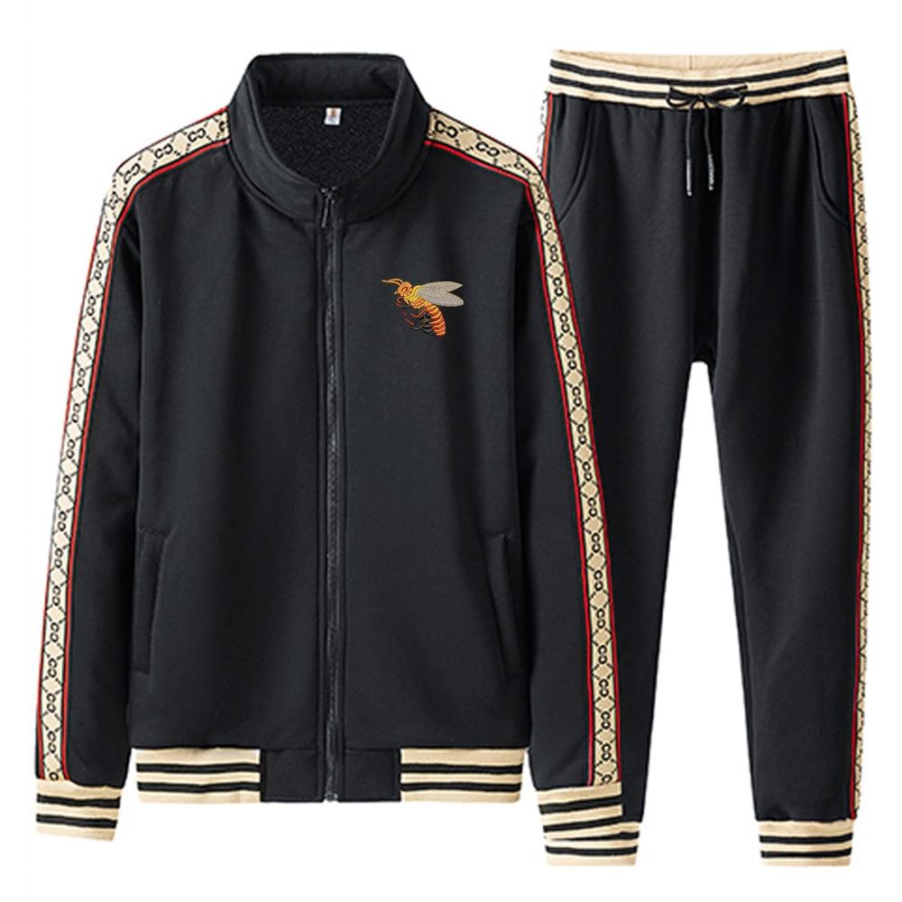 رجالي ماركة دبل جي بي التطريز الرجال مجموعات السراويل عرق سترة سستة الملابس بنطلون ملابس رياضية Sweatpants رياضية